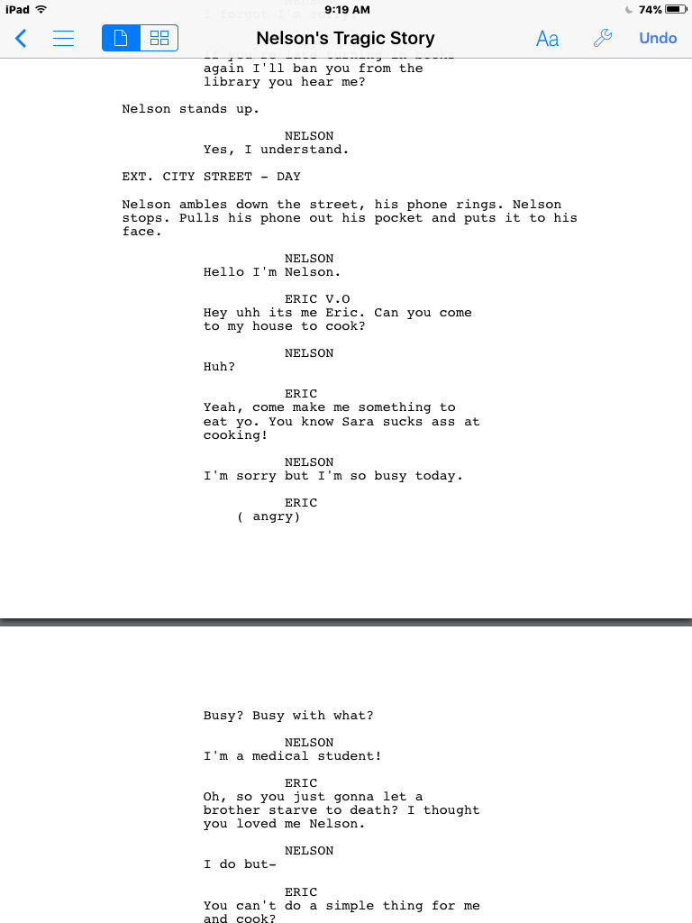 screenwriting how do i format a phone conversation by