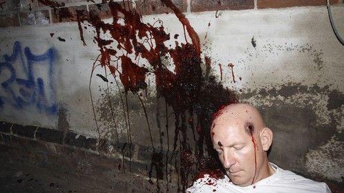Gun shot, splattered brains