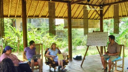 7 Act Structure Lectures Overlooking the Sacred Monkey Forest  (We also use this space for our morning Yoga)