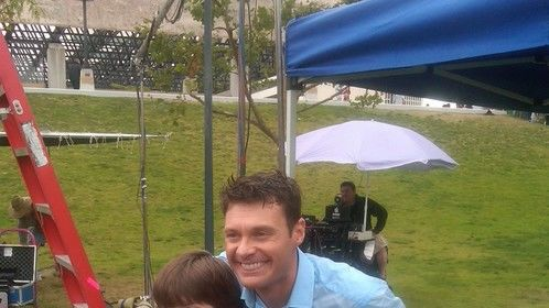 Ryan Seacrest and I on set for PSA in Los Angeles 2011