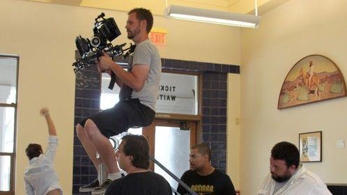 "Last scene of ""Wake Up"". I'm being lifted on a homemade jib."