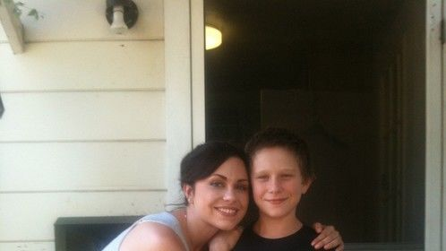 """on set of the feature film """"MIDDLE OF NOWHERE"""" with young costar Bryton Berdhal"""