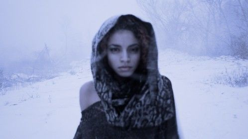 Gabby during our video shoot in a blizzard