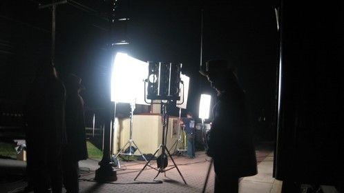 Lighting for night shots in Strasburg, PA, for Stealing Lincoln's Body