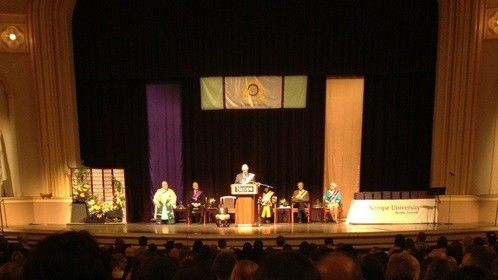 We do web streaming. Here is a photo from Macky Auditorium at CU for Naropa's graduation.