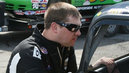 At Langley Speedway talking with a fellow driver.
