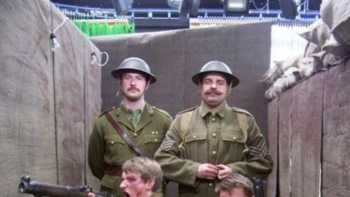 On-set for the wartime segment of 'Non-Fiction'.