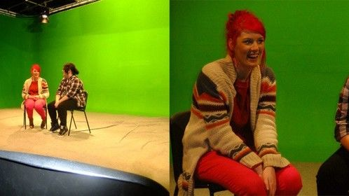 The two girls on work placement at our studio getting to grips with the green screen.