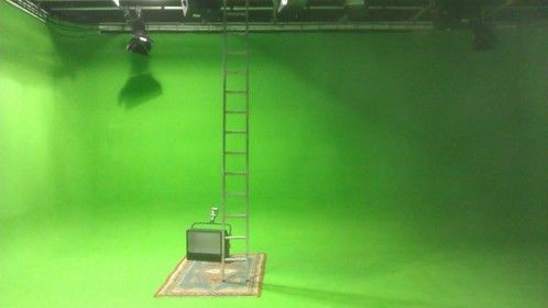 Our green screen room being tidied before the next client arrived.