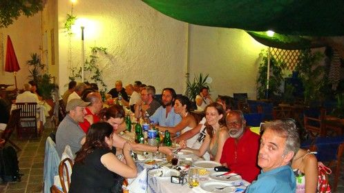 Dinner at IRINI'S with participants of the workshop. The location was a beautiful platia (square) in Mandraki on the island of N