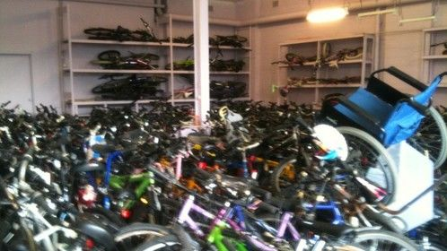 some of our donated bikes in need of repair