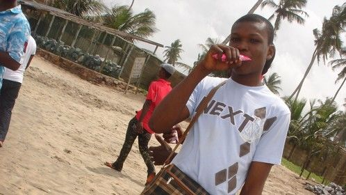 Posed for a TV Commercial for Funmilk Ghana, it was at the beach.