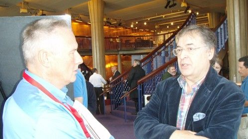 Ron Maxwell, director of Gods & Generals, chatting with me at the Premiere in Manassas, VA (July 2011).