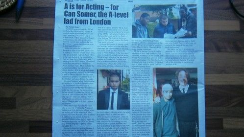 "A newspaper article in Cyprus, newpaper ""Cyprus Star"" about me and my acting career!"