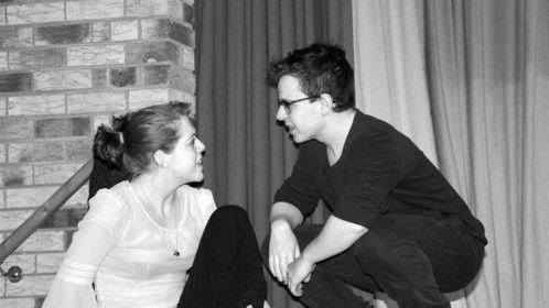 Hermia (Emma Hopkins) and Demetrius (James John Bryant)