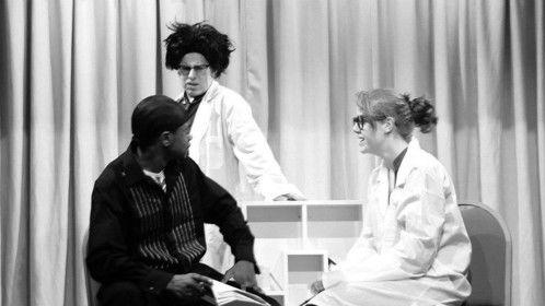Egeus (Rich Kinsiona) Dr Bottom (James John Bryant) and Dr Quince (Emma)