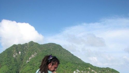 Setting up a time-lapse at Scotts head in Dominica together with my wife and partner Etta