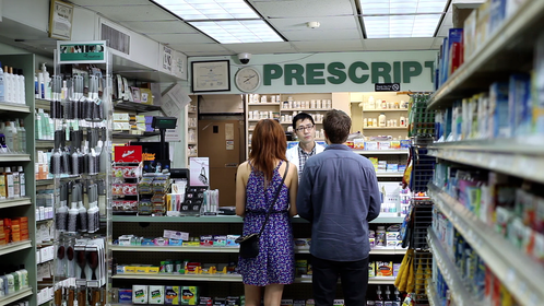 Rob Yang, Rachel Boston, & Noah Bean in a scene from The Pill