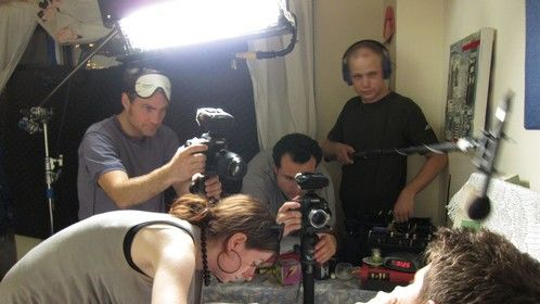 DP Andreas von Scheele, Makeup Artist Jessica Jade Jacob, Director J.C. Khoury, and Sound Mixer Matthew Kraus make The Pill