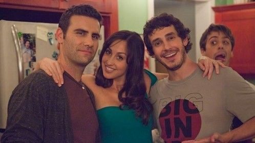 "timeout with actors Adam Rose, Catherine Reitman, Tate Ellington and Matt Bush on the set of ""The Kitchen""."