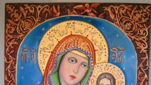 """""""Santa Maria y Cristos""""madera,relieve con tempera."""