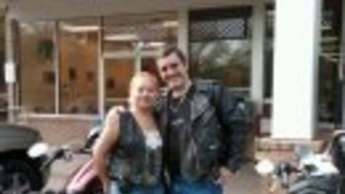 Me and wife out for a motorcycle ride. One for the road!!!