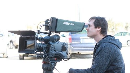 Director J. Allen getting ready for the shot.