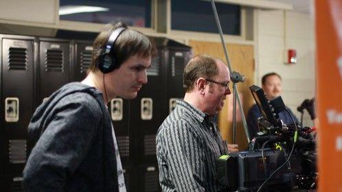 Director J. Allen and DP Scott Wilson setting up for school hallway shot.
