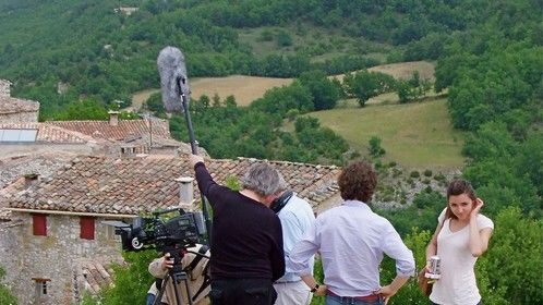 Part of the crew prepare for a shot outside Oppedette.