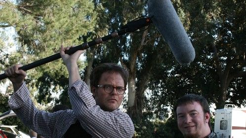 "Actor Rainn Wilson fooling around shooting promos for ""The Rocker"""