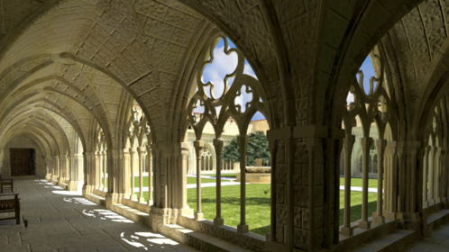 A render of a cloister created and rendered in Cheetah3D. Inspired in the Monasteri de Poblet in Catalonia.