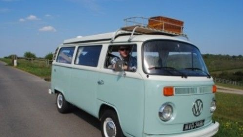 Belinda Bus our pale blue and white retro VW Camper