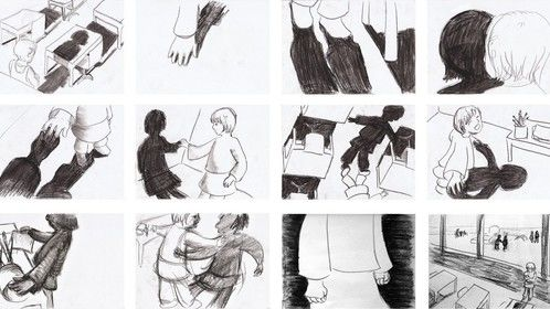 Storyboard sketches own story 'shadowplay'