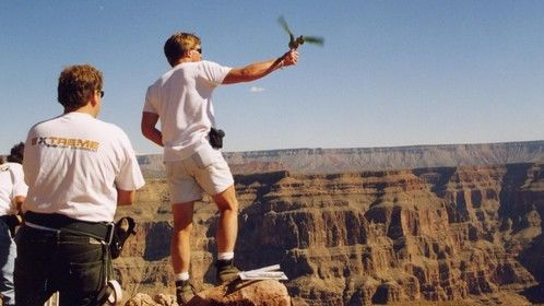 """Flying my Blue-Crowned Conure, Faith, over the Grand Canyon for the movie """"Paulie - A Parrot's Tale"""""""