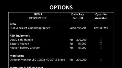 Options price list.