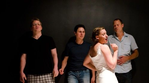 "Kathryn Dunkel Zeek (& the boys) in ""the changing room"" 2012 photo by Liza Voll"