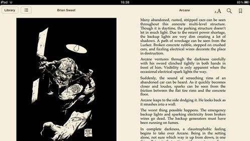 Example page from Arcane on ibooks