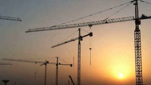 sunrise in a construction site in Doha
