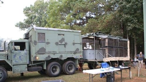 M109 van and Military Mobile Kitchen Trailer (MKT) (in use cookning for the rally).