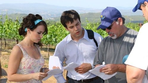 On set with Lacey Chabert and Michael Shulman