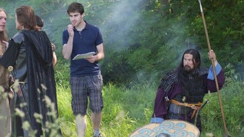 Directing Jake McGarry and Joe McKenna on the set of The Fable of Forsaken (2014). Photo: James Archibald
