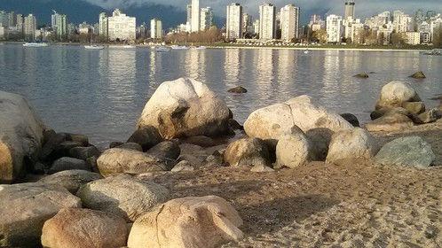 Nice evening at Kitsilano Beach, Vancouver, looking across False Creek to English Bay.
