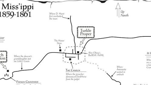 "Map of fictional Turkle, Mississippi, setting of THE LIES THAT BIND (""DarkHorse Trilogy"" Book 1) novel (pub. Dec. 2015, TouchPoint Press) and screenplay. Screenplay available."