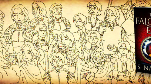 A bit of doodling I did with characters from my book...