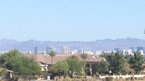 View of The Strip from my home office window.