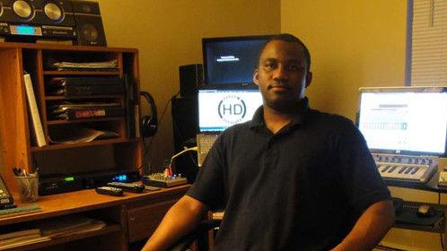 Rodney Burutsa in the Heaven's Disciples home studio.