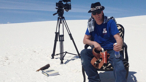 Taking a short break from dragging equipment and props around White Sands National Monument, New Mexico.