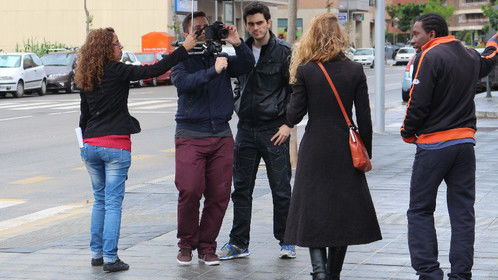 """Directing my newest short film, """"Leaving Traces"""", at Tarragona on April 2014."""