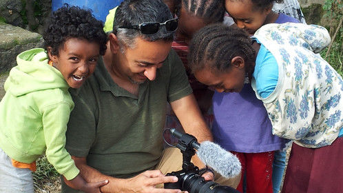 While filming a scene at a village near Addis Ababa, Ethiopia, the kids were so excited and amazed at how they could see their friend on my camera screen.