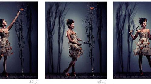 Papillion Panier Dress, Costume made from woven basket reeds and feather butterflies.